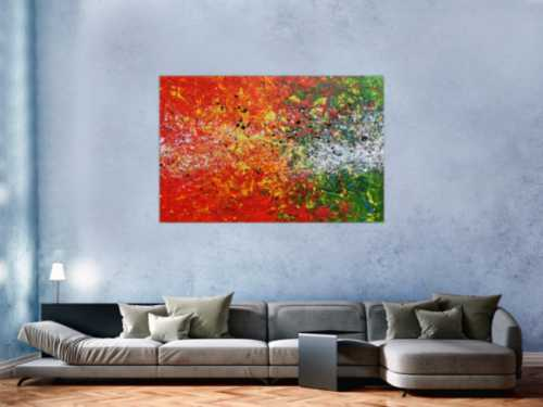 Modernes Acrylgemälde abstrakt orange grün weiß Splashstyle Action Painting