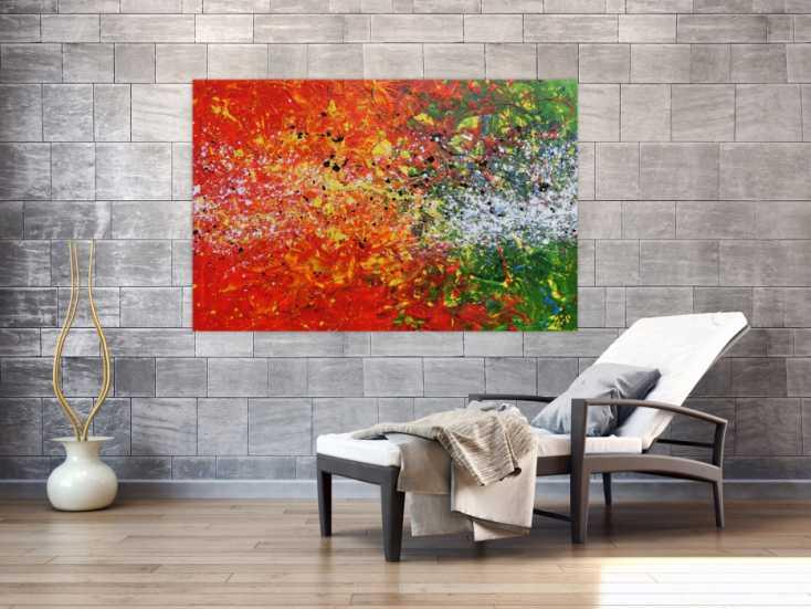 #874 Modernes Acrylgemälde abstrakt orange grün weiß Splashstyle Action ... 100x150cm von Alex Zerr