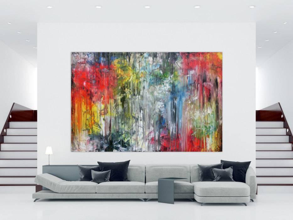 Abstraktes Gemälde sehr bunt in XXXL modern sehr groß abstrakt ...