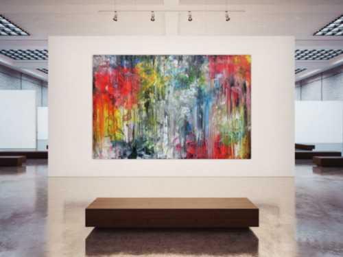 Abstraktes Gemälde sehr bunt in XXXL modern sehr groß abstrakt Fließtechnik