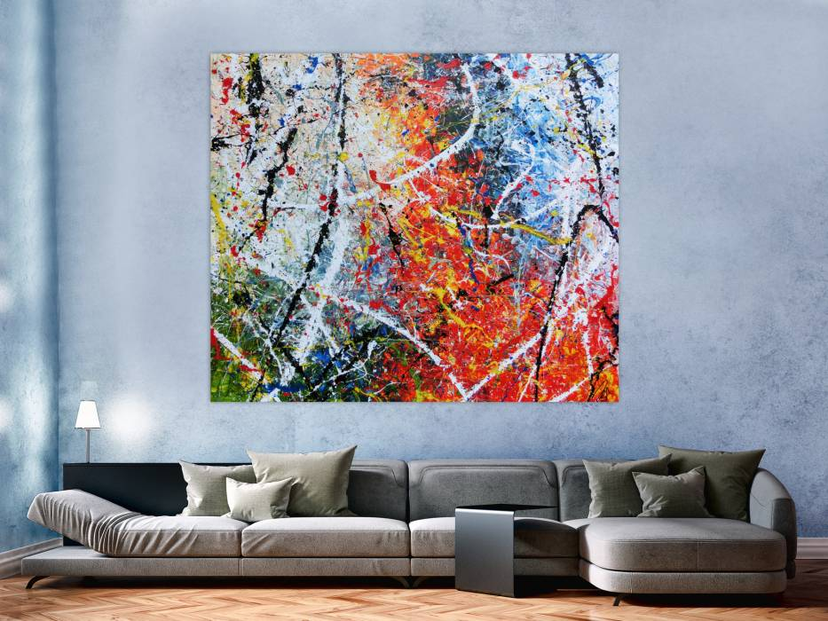 abstraktes acrylbild modernes gem lde sehr bunt action painting in orange wei blau gr n gelb. Black Bedroom Furniture Sets. Home Design Ideas