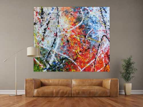 Abstraktes Acrylbild modernes Gemälde sehr bunt Action Painting in orange weiß blau grün gelb