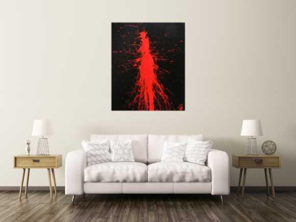 Minimalistisches abstraktes Gemälde modernes Acrylbild in schwarz rot Action Painting