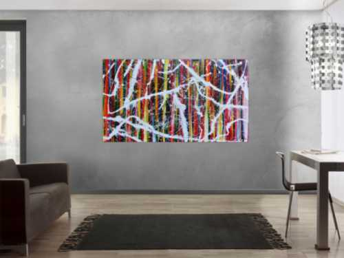 Sehr buntes abstraktes Acrylgemälde modernes Bild bunte Streifen Action Painting
