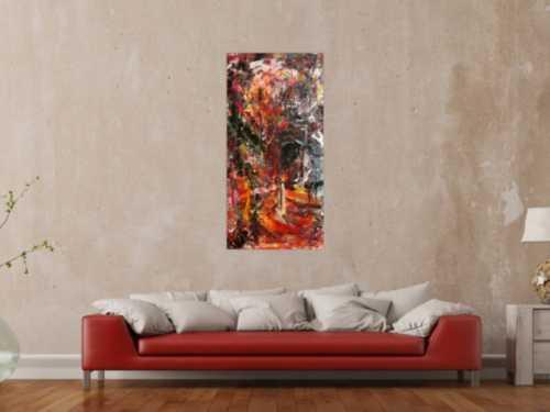Abstraktes Gemälde einzigartig mit starker Struktur bunt modern Action Painting