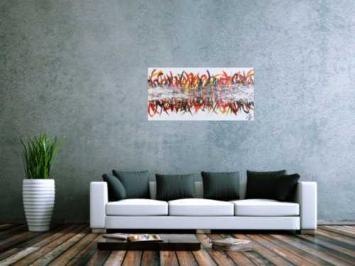 Abstraktes Acrylbild sehr bunt farbenfroh moderne Schleifen und Haken Action Painting