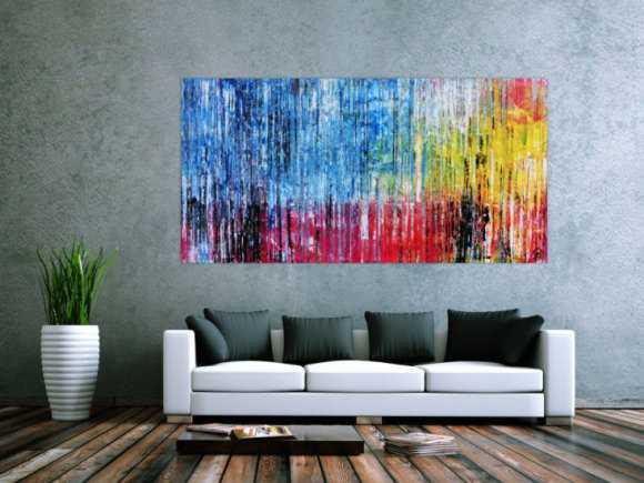 Abstraktes Acrylbild bunt moderne Gemälde Spachteltechnik blau pink gelb