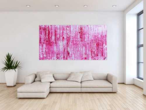 Modernes abstraktes Acrylbild in rosa pink weiß Spachteltechnik