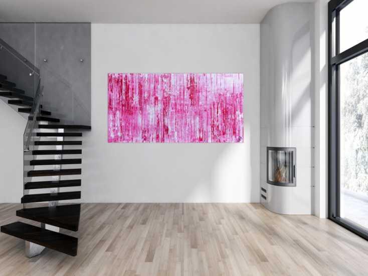 #883 Modernes abstraktes Acrylbild in rosa pink weiß Spachteltechnik 100x200cm von Alex Zerr