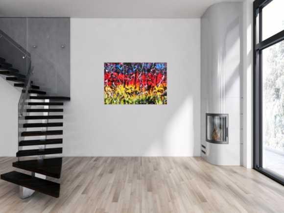 Modernes Gemälde abstrakt bunt in rot blau gelb grün und schwarz