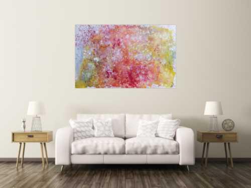 Abstraktes Gemälde in Pastellfarben modern schlicht in rosa pink weiß gelb