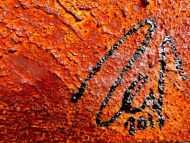 Detailaufnahme Abstraktes Gemälde aus echtem Rost und starker Stuktur modernes Wandbild