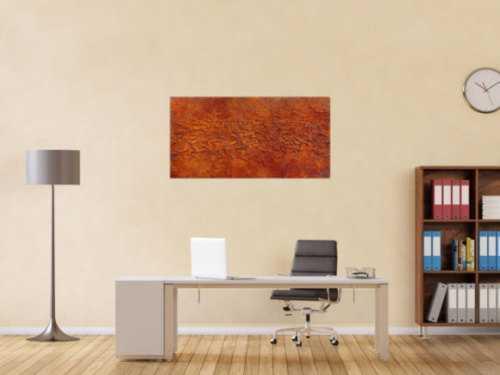 Abstraktes Gemälde aus echtem Rost und starker Stuktur modernes Wandbild