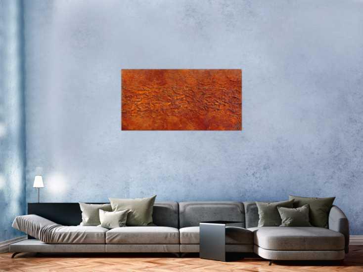 #887 Abstraktes Gemälde aus echtem Rost und starker Stuktur modernes ... 60x120cm von Alex Zerr