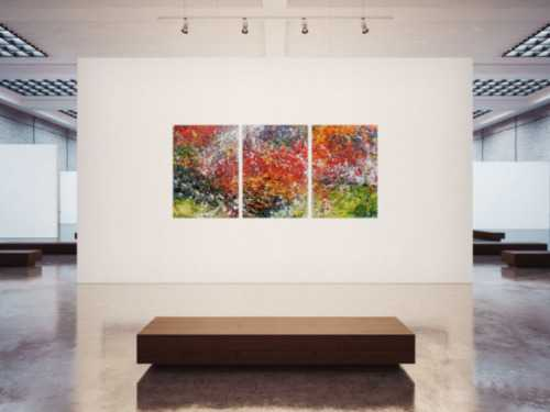Abstraktes Triptychon modernes Gemälde drei Teile sehr bunt