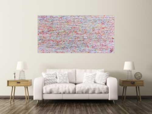 Abstraktes Gemälde bunte Tropfen modernes Acrylbild schlicht