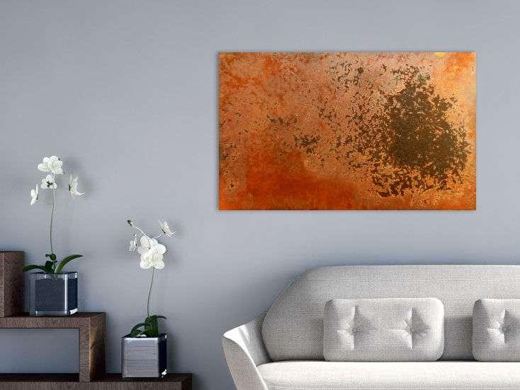 abstraktes rostbild kunst aus rost handgemalt auf leinwand in 60x100cm von alex zerr. Black Bedroom Furniture Sets. Home Design Ideas