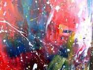 Detailaufnahme Abstraktes Acrylbild sehr bunt modernes Gemälde viele Farben