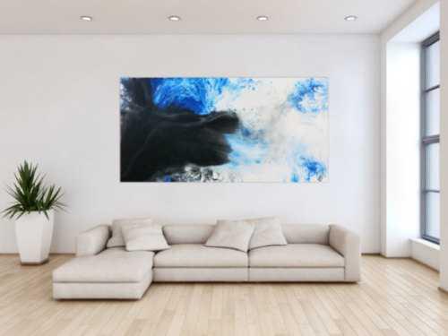 Modernes abstrakte Gemälde schwarz weiß blau Fließtechnik
