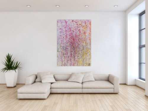 Abstraktes Gemälde modern in helle Farben weiß pink gelb rosa