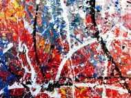 Detailaufnahme Abstraktes Acrylbild modern Actionpainting bunt viele Farben