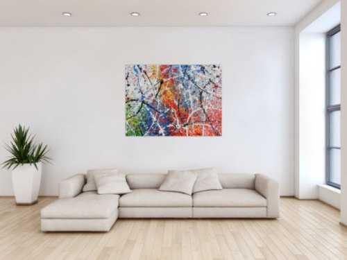 Abstraktes Acrylbild modern Actionpainting bunt viele Farben