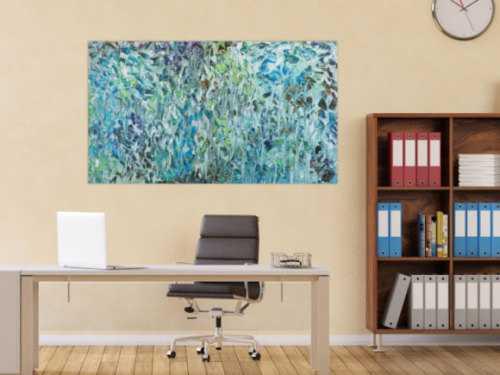 Abstraktes Acrylbild modern Spachteltechnik tükis blaun weiß grün