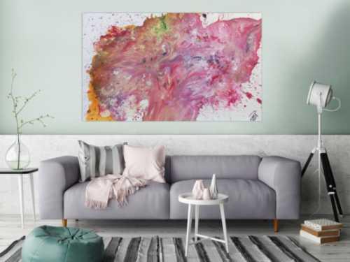 Abstraktes Acrylgemälde rosa modernes Bild in Fließtechnik helle Farben