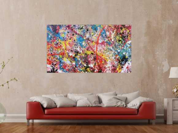 Abstraktes Acrylbild Acrtionpainting modern bunt viele Farben