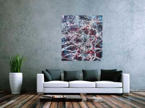 Abstraktes Acrylbild modernes Gemälde in türlis oink schwarz weiß Actionpainting
