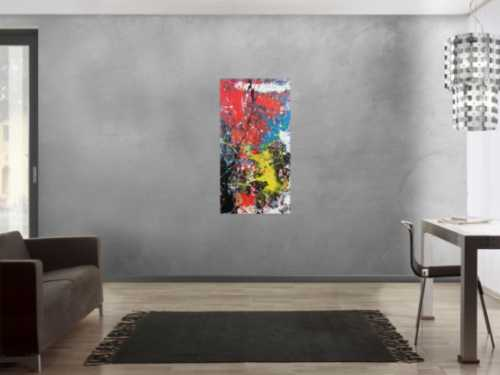 Modernes abstraktes Acrylbild Actionpainting Spash Style sehr bunt viele Farben