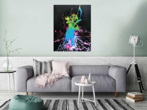 Abstraktes Bild Splash Art modern Action Painting sehr bunt
