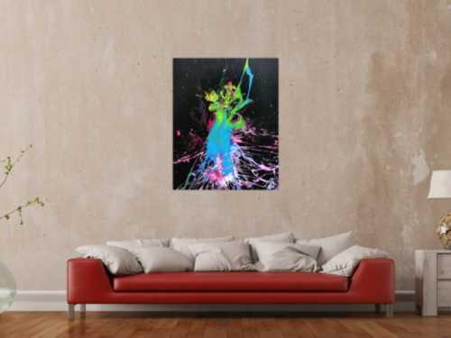 Abstraktes Bild Splash Art modern Action Painting sehr bunt