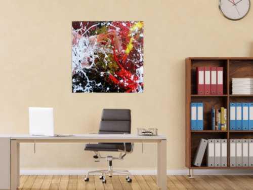 Abstraktes Acrylbild handgemalt modern Action Painting weiß rot gelb schwarz