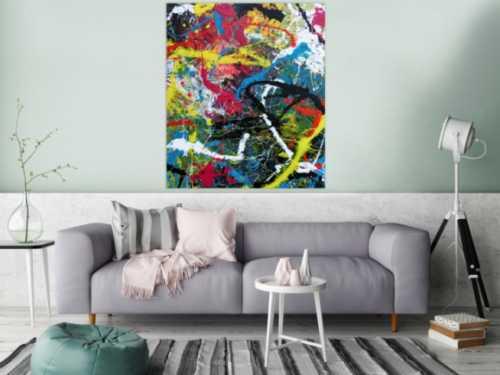 Abstraktes Bild Acryl expressionistisch modern Actionpaintin bunt