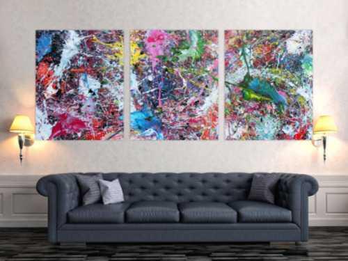 Abstraktes Gemälde sehr bunt drei Teile Triptychon modern Actionpainting expressionstisch