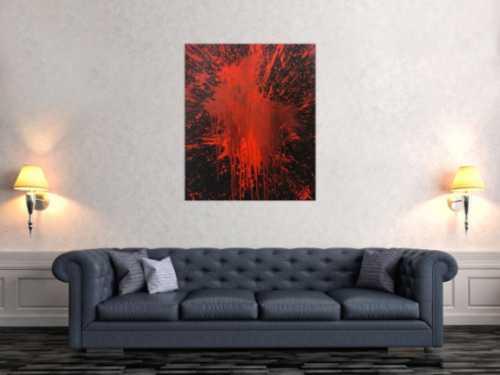 Abstraktes Bild rot schwarz minimalistisch Actionpainting Spritzer Blut