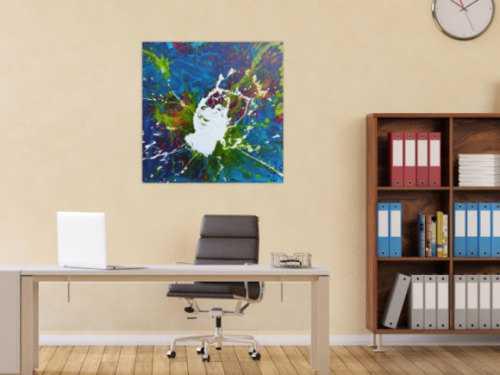 Abstraktes Acrylbild weißer Fleck auf türkisem Hintergrund modern Splash Art