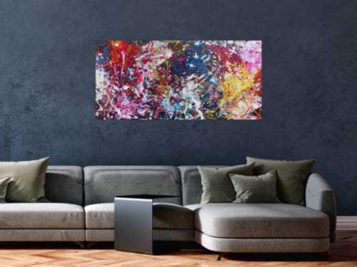 Abstraktes Gemälde sehr bunt Action Painting Spalsh Art starke Struktur sehr viele Farben