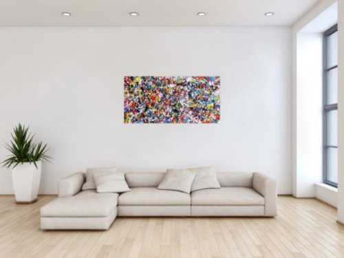 Abstraktes Acrylbild viele bunte Flecken Spash Art modernes Bild Konfetti
