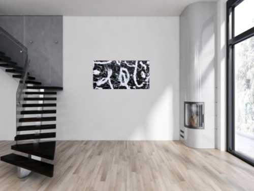 Minimalistisches abstraktes Bild schwarz weiß modern Spash Art Action Painting expressionistisch