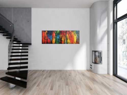Abstraktes Acrylbild vintage Style bunt modern in rot gelb grün blau schwarz