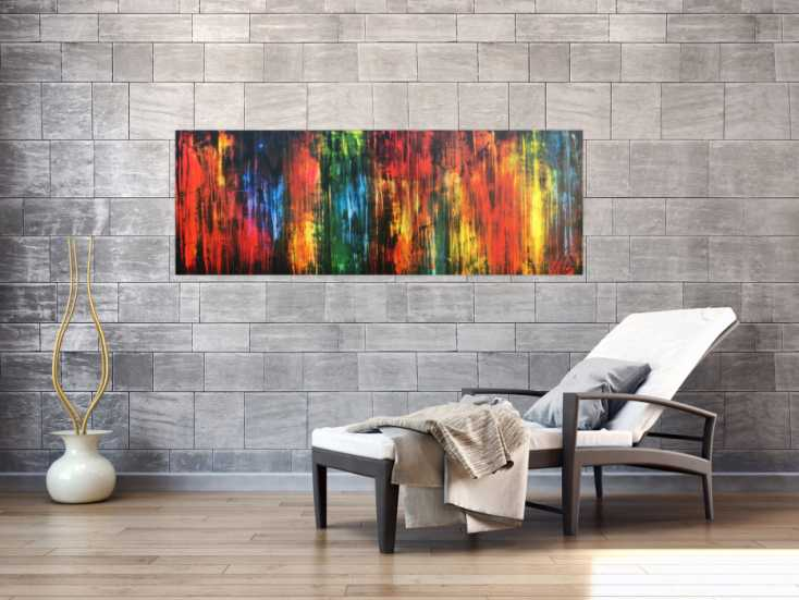 abstraktes acrylbild vintage style bunt modern in rot gelb gr n blau schwarz auf leinwand 55x160cm. Black Bedroom Furniture Sets. Home Design Ideas