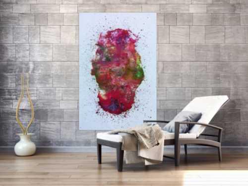 Abstraktes Acrylbild verlaufene Farben modern in pink berry rosa violett grün