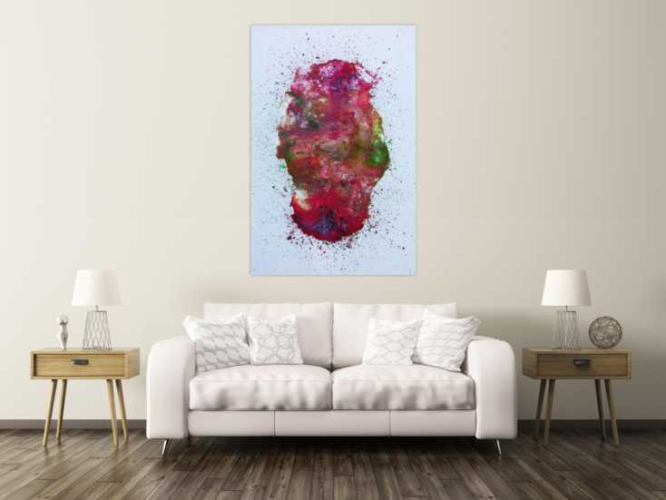 abstraktes acrylbild verlaufene farben modern in pink berry rosa violett gr n auf leinwand 160x100cm. Black Bedroom Furniture Sets. Home Design Ideas