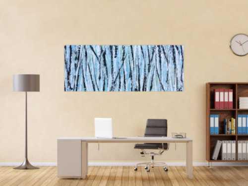 Modernes abstraktes Acrylbild in hellblau mintgrün grau schwaz weiß Actionpainting