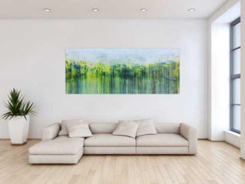 Abstraktes Gemälde aus Acryl handgemaltes Bild Fließtechnik in blau grün gelb weiß