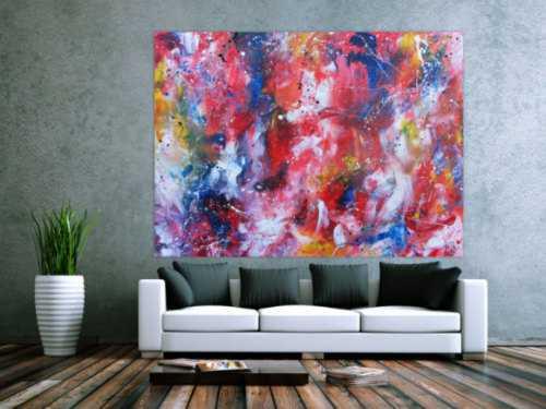 Sehr großes abstraktes Acrylbild handgemalt sehr bunt und viele leuchtende Farben