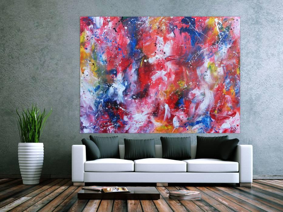 sehr gro es abstraktes acrylbild handgemalt sehr bunt und viele leuchtende farben handgemalt auf. Black Bedroom Furniture Sets. Home Design Ideas