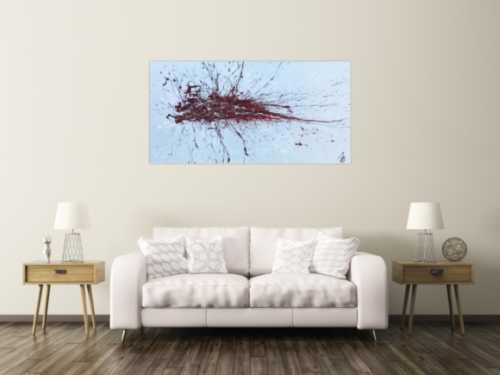 Abstraktes Bild Actionpainting roter Fleck auf silder grau